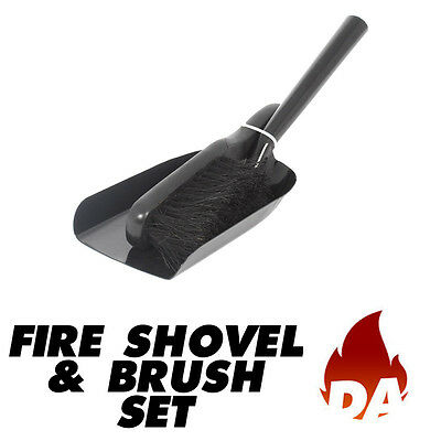 FIRE SHOVEL AND BRUSH SET FOR OPEN FIRES, WOOD BURNERS, ASH, COAL FIRES