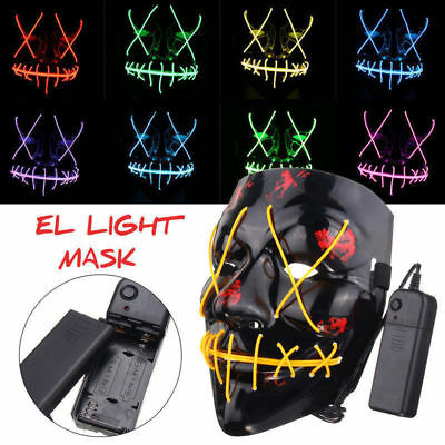 LED Glühend leuchtet EL Wire Horror Maske Purge Clownmaske Halloween Mask Zombie
