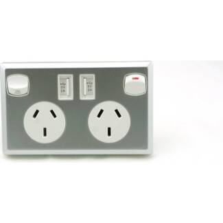 6x Dual USB & Australian Power Point Sockets Silver NEW