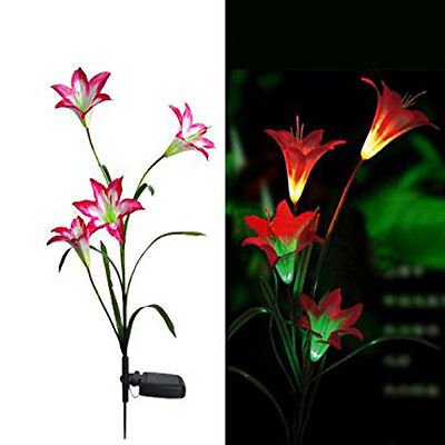 Solar Power Red Lily Flower Garden Stake Landscape Lamp Outdoor Yard LED Light