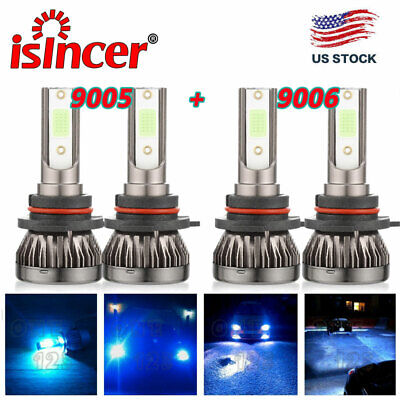 Blue Led Replacement Bulb - mini 9005+9006 LED Headlight 8000K Ice Blue for Chevy Silverado Tahoe 1999-2006