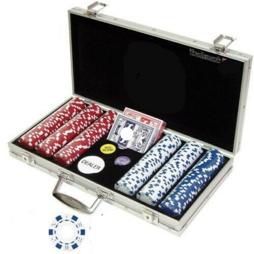 Texas Holdem Kit 300 Pc Poker Chips Set Clay Cards Composite Card Game