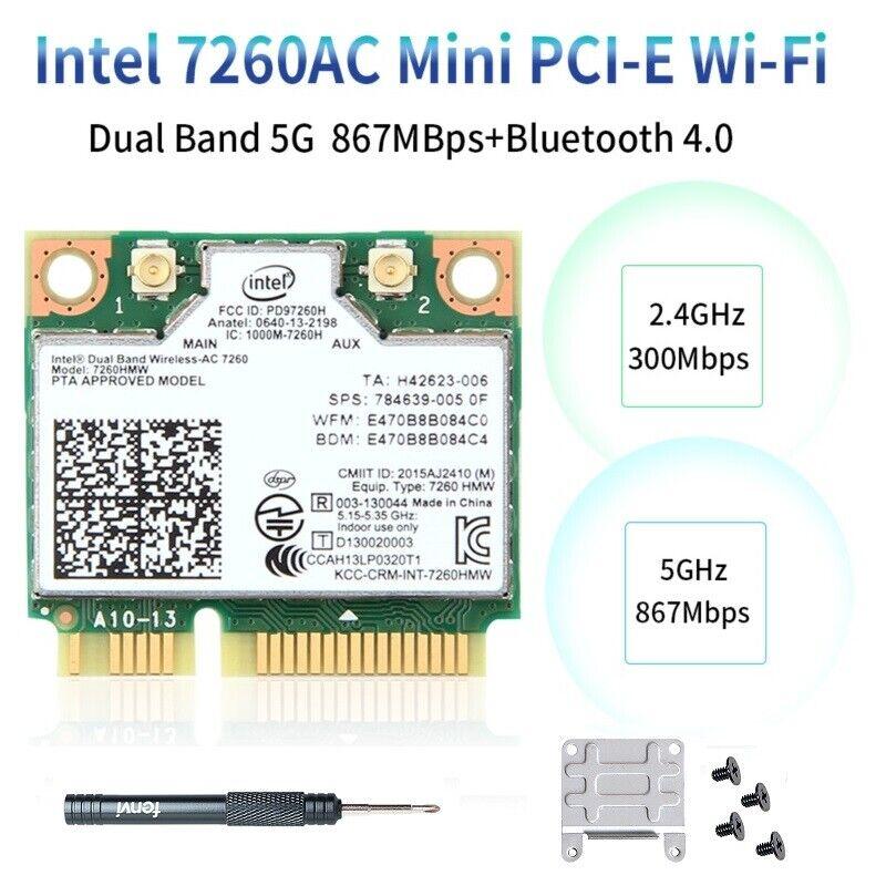 Intel Wireless-AC 7260HMW WiFi Card Bluetooth 4.0 Mini PCIe 7260 Wireless Card