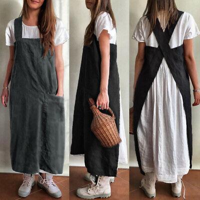 UK Women Chefs Cooking Baking Long Apron Cotton Linen Vintage Pinafore Dress
