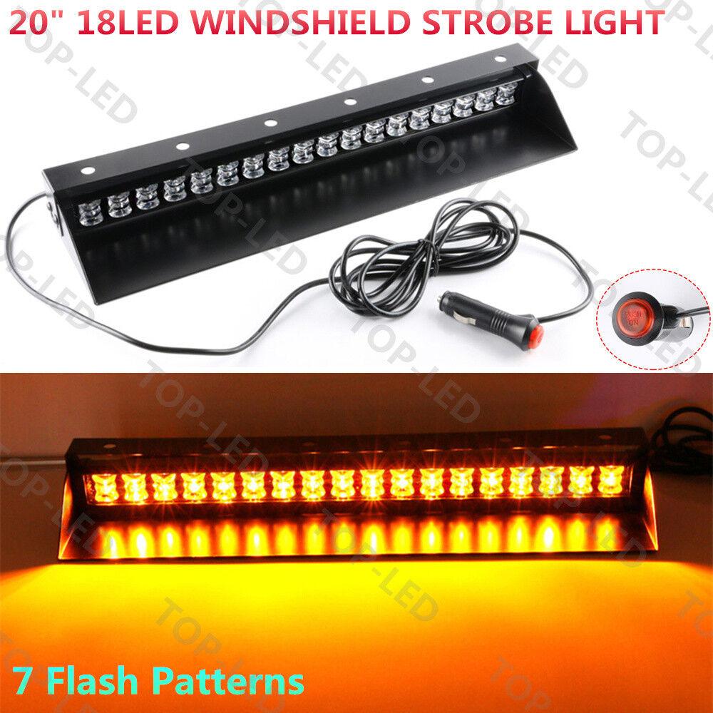 18LED Emergency Hazard Warning Windshield Dashboard Strobe Flash Light Green 12V