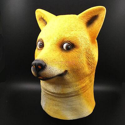 Wow Doge Mask Meme KABOSU face latex headgear Such Shiba Dog Halloween cosplay N - Doge Dog Halloween