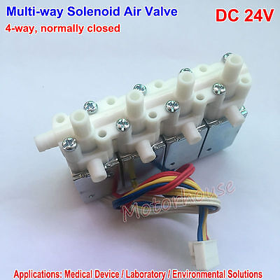 Dc 24v 4-way Mini Electric Solenoid Valve Normally Closed Nc For Gas Air Valve