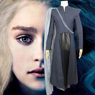 Cosplay Mother of Dragons Game of Thrones Season 7 Daenerys Costume Black Suit