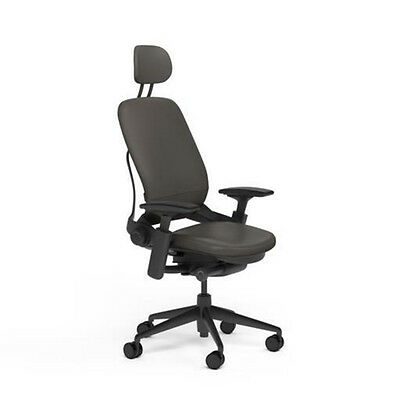 Steelcase Adjustable Leap Desk Chair Headrest - Soapstone Leather Black Frame