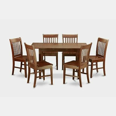 7 Piece Small Kitchen Table Set - Table With Leaf And 6 Dining Room Chairs NEW