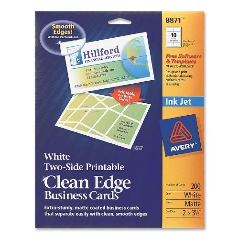 Avery 8871 Clean Edge Business Cards White Two Side Printable 2 X