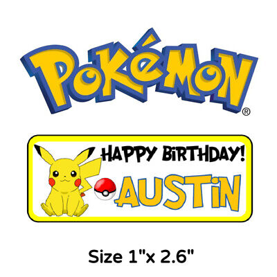 Pokemon Birthday Party Favors (50 Pokemon birthday Party Stickers Labels For Goodie Bags Or)
