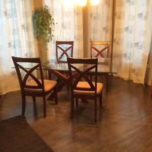 Glass X-Frame Pedestal Dining Table with Chairs Edmonton Edmonton Area image 1