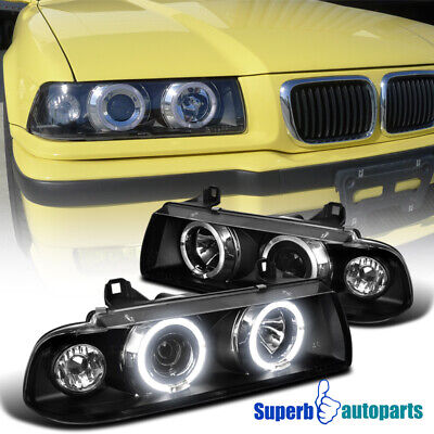 For 1992-1998 BMW E36 2/4Dr 325i M3 Dual Halo Projector Headlight Black