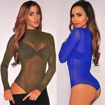 New Women Long Sleeve Bodycon Bandage Bodysuit Jumpsuit Slim Short Romper