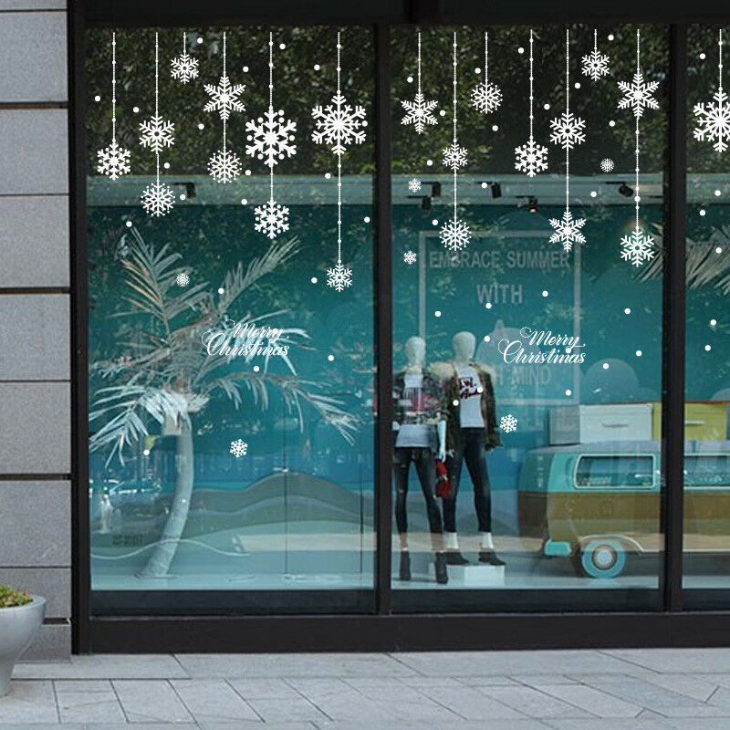 Christmas white snowflake snow frozen window decal wall for Christmas window mural