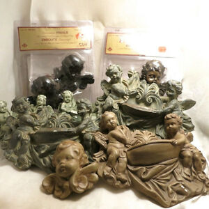 Lot 9 Nine Pieces Cherub Angels Wall Sconces Shelves Fountains