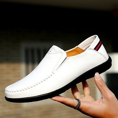 Men's Casual Cowhide Moccasins Driving Loafers Shoes Leather Slip On Lightweight ()