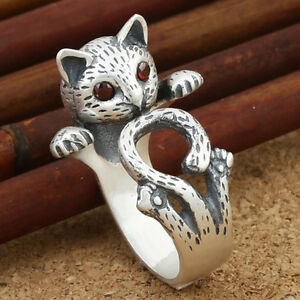 Women's Stainless Steel Cat Wrap Ring Size Adjustable UxJmcN