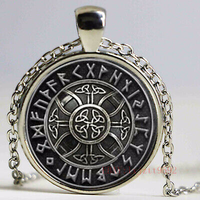 1pcs Norse Viking Cross in Rune Circle pendant jewelry Glass Cabochon Necklace 1 Circle Jewelry