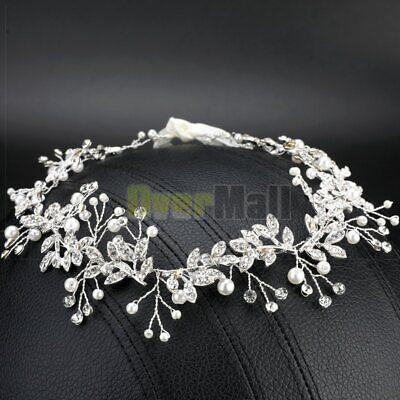 New 110cm Pearl Wedding Hair Vine Crystal Bridal Accessories Diamante - Hair Vine