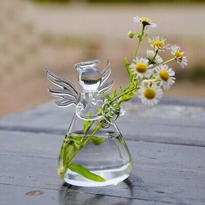 Hanging Angel Glass Vase Flower Planter Pot Terrarium Container Room House Decor Hanging Glass Vases