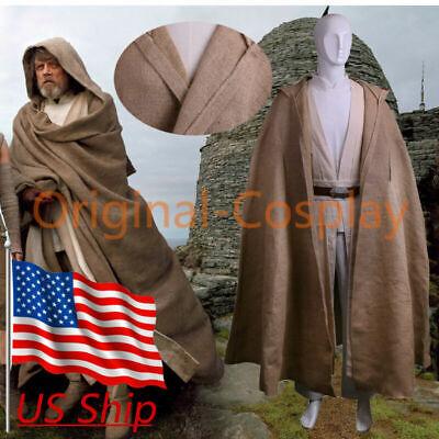 Luke Skywalker Halloween Costumes (Cosplay Star Wars The Last Jedi Luke Skywalker Costume Halloween Full Set)