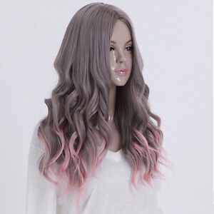 WOMAN'S GREY/PINK OMBRE LONG & WAVY COSPLAY WIG - BRAND NEW