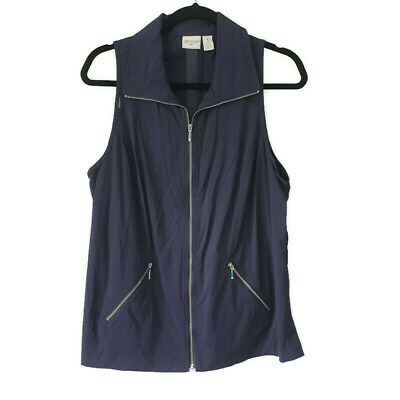 Chico's Zenergy Sleeveless Full Zip Vest Athletic Jacket Navy Blue Womens Sz 1