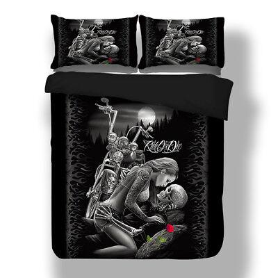 Bett Bettwäsche Kissen (Skull Bettwäsche Gothic Schädel Bettbezug Prinzessin Ritter Kühle Kissenbezug)