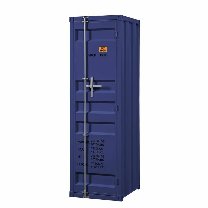 Bowery Hill Contemporary Metal Wardrobe Armoire with 1 Door in Blue