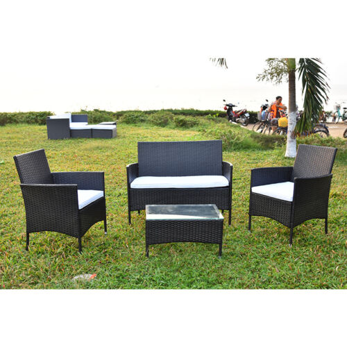 Garden Furniture - Rattan Patio Garden Furniture Set Table and Chairs 4 Seats Conservatory Outdoor
