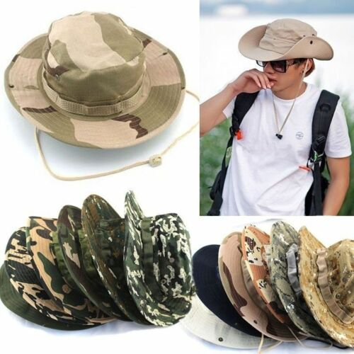 Mens Bucket Hats Boonie Wide Brim Sun Cap Military Camo Hunt