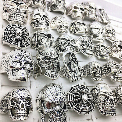 30pcs Top-quality Gothic Punk Assorted Wholesale Lots Skull Bikers Men's Rings - Punk Wholesale