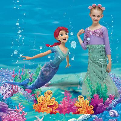 Girls Little Mermaid Costume Child Ariel Fairytale Fancy Dress Kids Party Outfit (Ariel Little Mermaid Party)