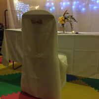 Wedding Ivory table clothes, chair covers,sashes,more