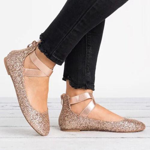 Details zu Damen Riemchen Ballerinas Flache Halbschuhe Glitzer Damenschuhe Sandalen Flats