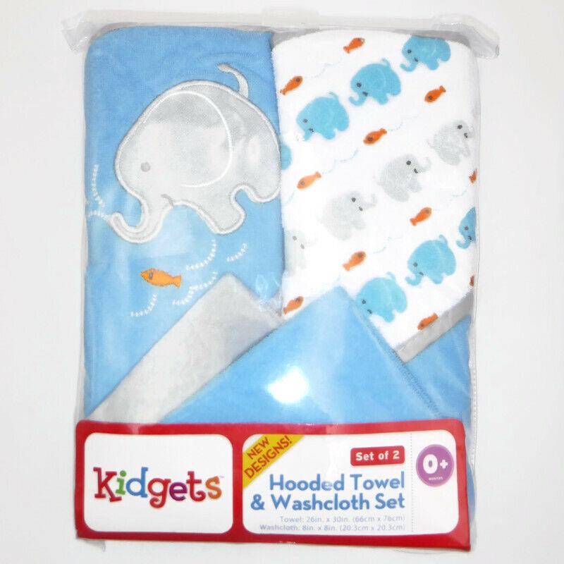 Kidgets HOODED TOWEL & WASHCLOTH SET 4 Pc. Blue Elephant Fish Baby Boy Bath