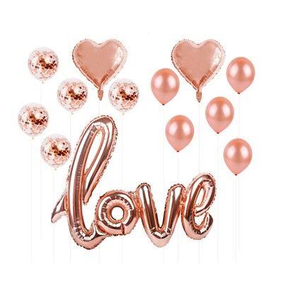13pc Love Balloons Foil & Confetti Party Decor - Wedding, Engagement - Rose Gold ()