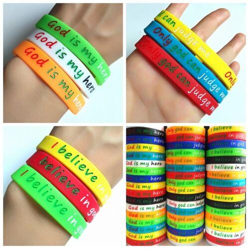 30pcs Men Women Jesus Silicone Bracelets God Rubber Wristbands Religious Jewelry