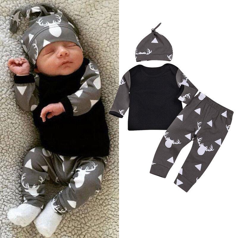 US Newborn Baby Boy Tops Romper Bodysuit Jumpsuit Pants Deer Outfits Clothes Set