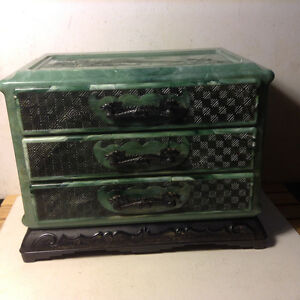 Antique Chinese Bakelite Celluloid Jewelry box