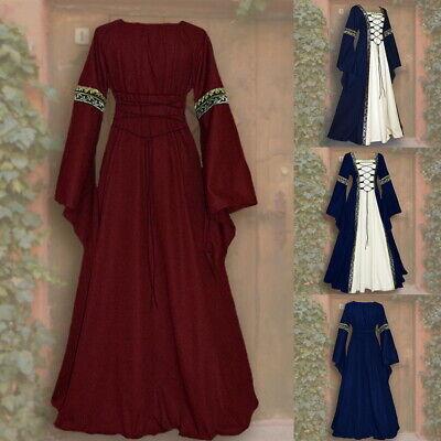 Women Medieval Victorian Long Sleeve Renaissance Gothic Dress Cosplay Costume - Renaissance Long Sleeve Kostüm