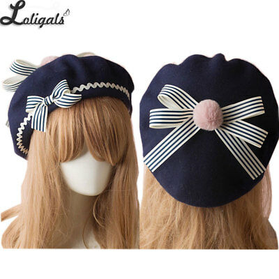 Sweet Women's Lolita Sailor Beret Gothic Wool Beret Hat with Bows for Winter
