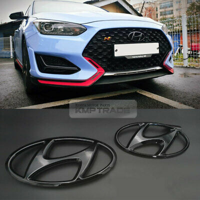 OEM Glossy Black Front Grille Rear Trunk Emblem for HYUNDAI 2019-2021 Veloster N