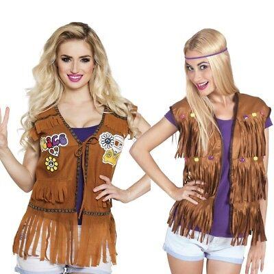HIppie Jacke Fransen Weste Damen Kostüm 60er 70er Flower Power (Fransen Hippie Kostüm)