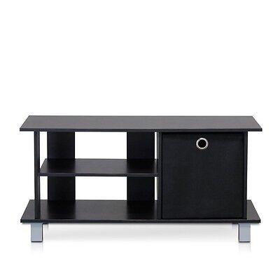 13239Ex Bk Simplistic Tv Entertainment Center W Bin Drawers  Espresso Black New