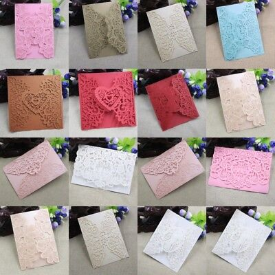 10PCS Personalized Lace Laser Cut Wedding Invitation Cards Party (Wedding Invite)