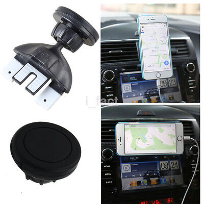 360° Black CD/DVD Car Slot Air Vent Holder Magnetic Stand Mount For Mobile Phone