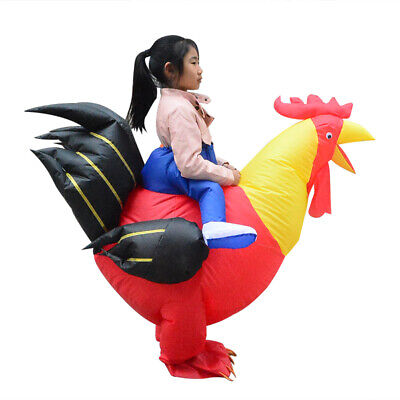 Inflatable Chicken Costume (Inflatable Rooster Costume Chicken for Kids Rider Halloween Cosplay Party)